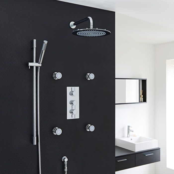 """Quest Thermostatic Shower System with 12"""" Head, Handshower & 4 Jet Sprays"""