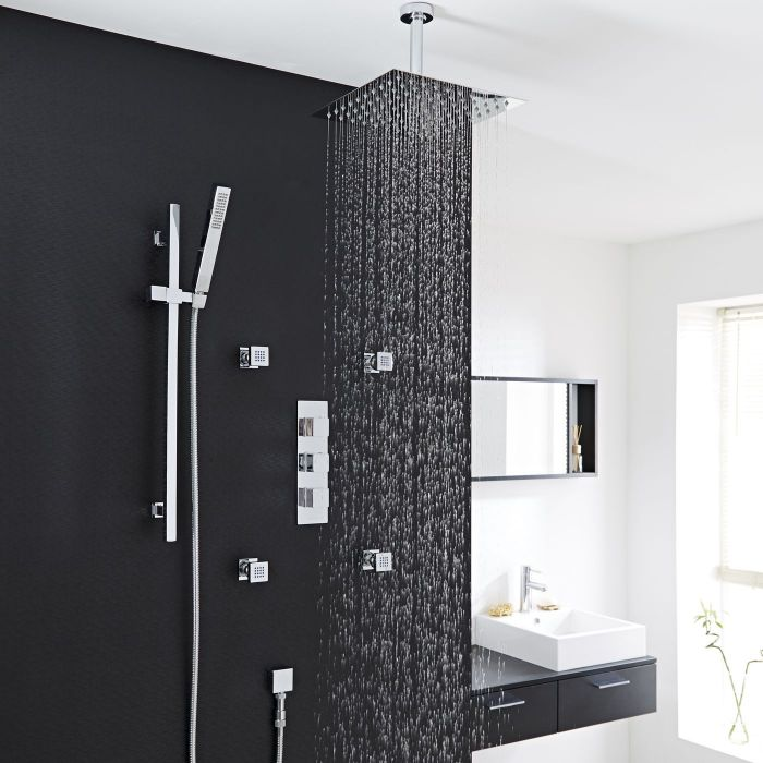"""Kubix Thermostatic Shower System with 12"""" Square Ceiling Head , Handshower & 4 Square Jet Sprays"""