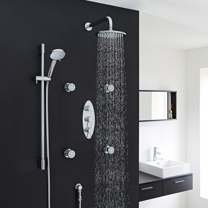 """Quest Thermostatic Shower System with 8"""" Head with Wall Arm , Multi-function Handshower & 4 Round Jet Sprays"""