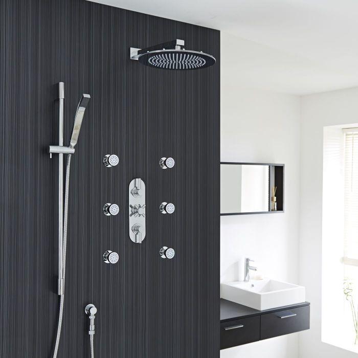 "Tec Thermostatic Shower System with 12"" Round Head & Arm , Brass Handset & 6 Round Jet Sprays"