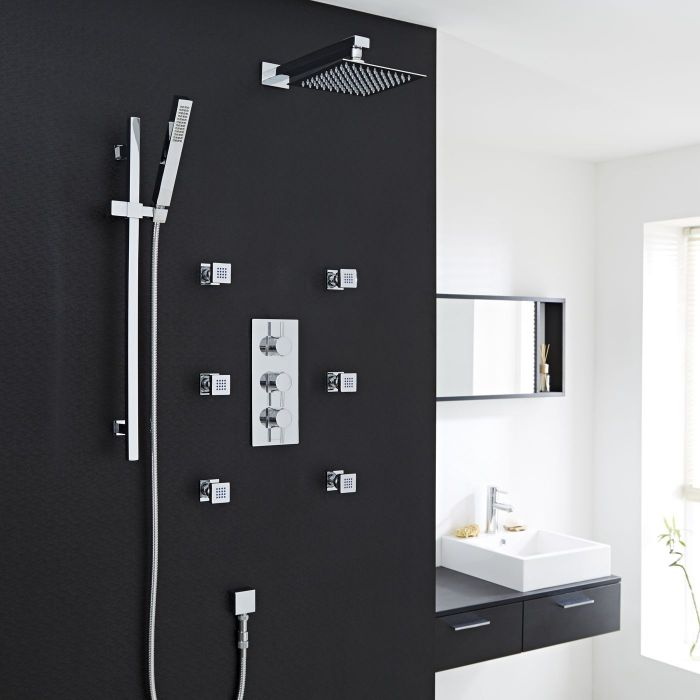 """Quest Thermostatic Shower System with 8"""" Square Head & Arm , Handset & 6 Square Jet Sprays"""