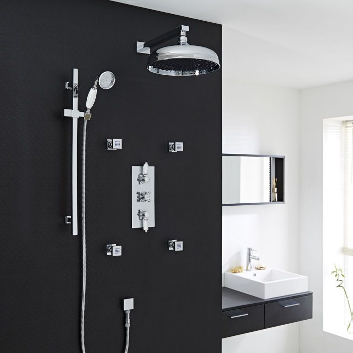 """Traditional Thermostatic Shower System with 12"""" Apron Head & Wall Arm , Handset & 4 Square Jet Sprays"""