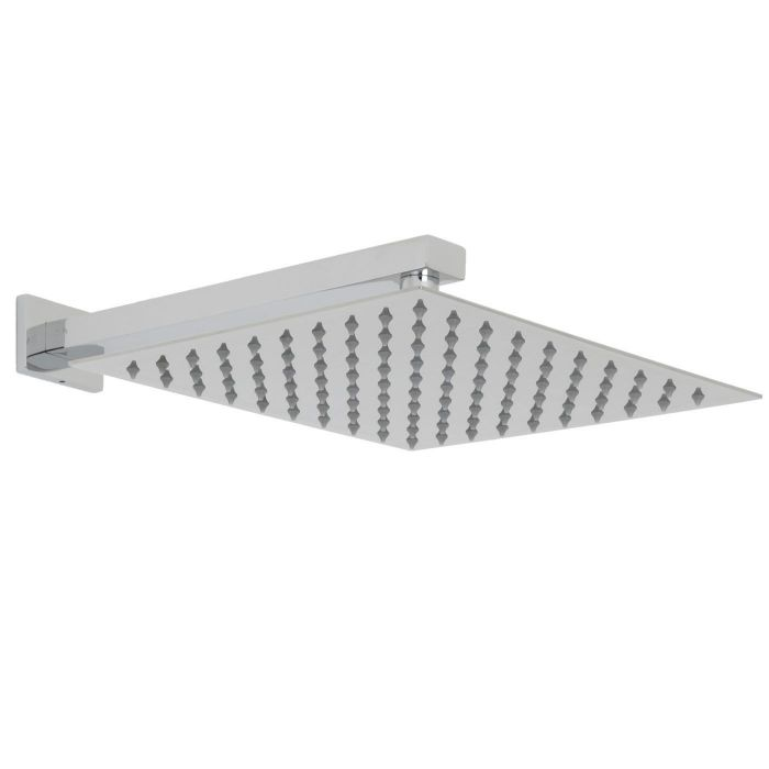 """Valquest 12"""" Square Thin Shower Head with Rectangular Wall Arm"""