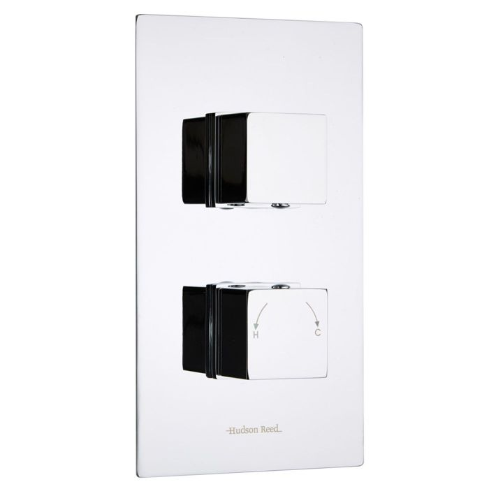 Kubix Concealed 1 Outlet Twin Thermostatic Shower Valve (Slim Plate)