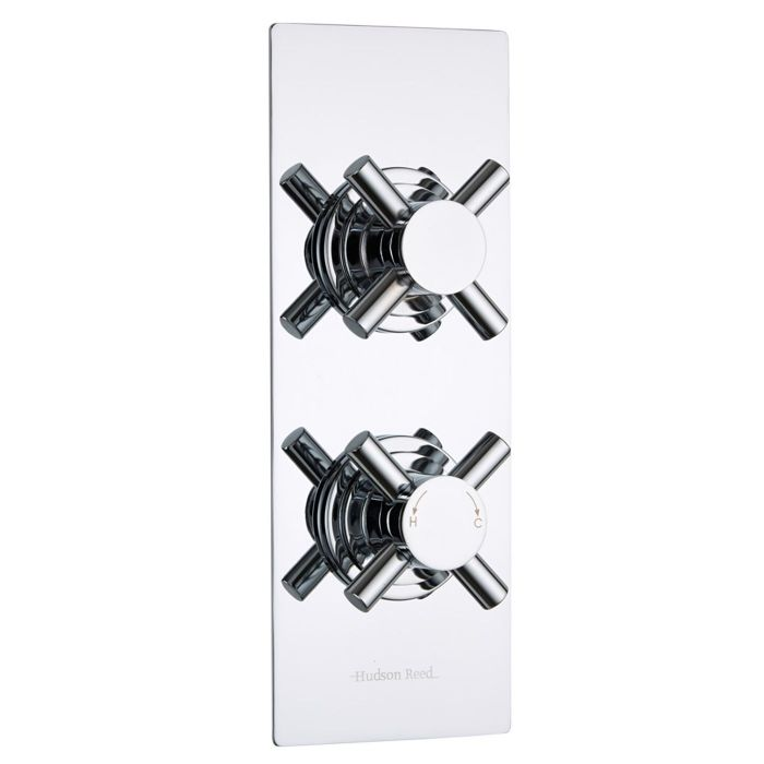 Kristal Concealed 2 Outlet Twin with Diverter Thermostatic Shower Valve (Slim Plate)