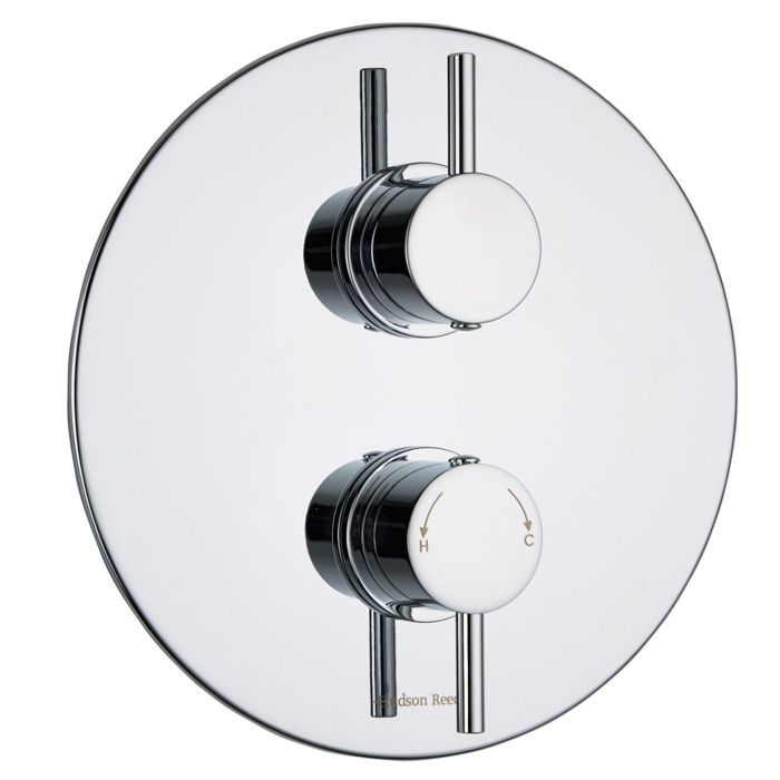 Quest Concealed 1 Outlet Twin Thermostatic Shower Valve (Round Plate)