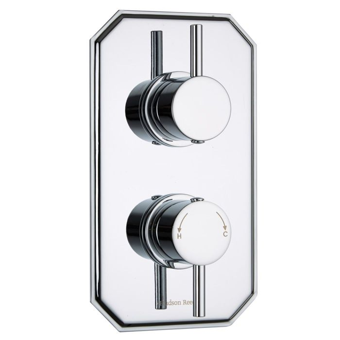 Quest Concealed 2 Outlet Twin with Diverter Thermostatic Shower Valve (Traditional Plate)