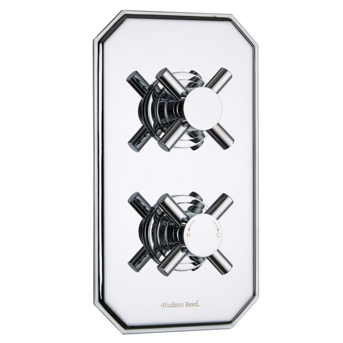 Kristal Concealed 1 Outlet Twin Thermostatic Shower Valve (Traditional Plate)
