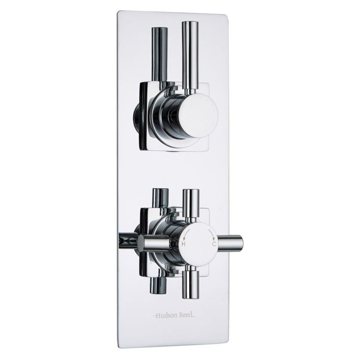 Tec Concealed 1 Outlet Twin Thermostatic Shower Valve (Slim Trim Plate)