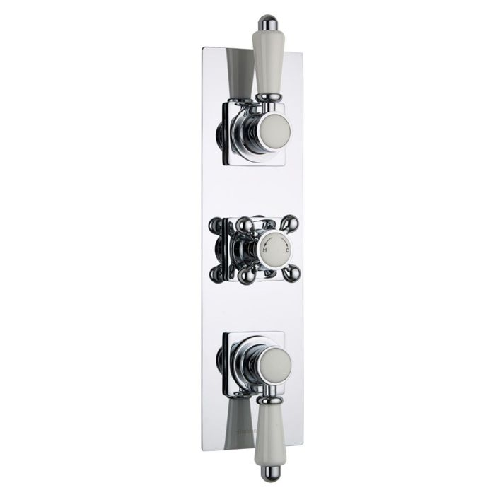 Traditional Concealed 2 Outlet Triple Thermostatic Shower Valve (Slim Trim Plate)