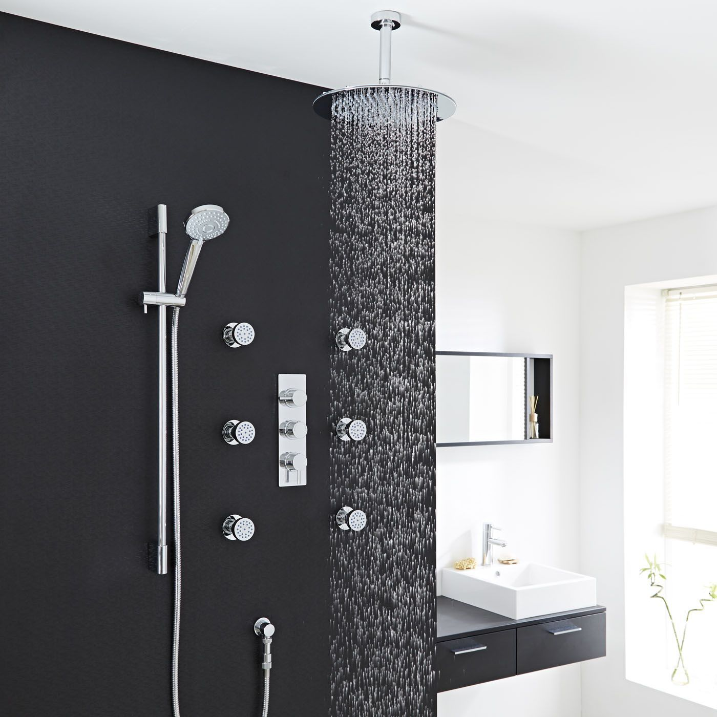 thermostatic shower system with multi function hand shower. Black Bedroom Furniture Sets. Home Design Ideas