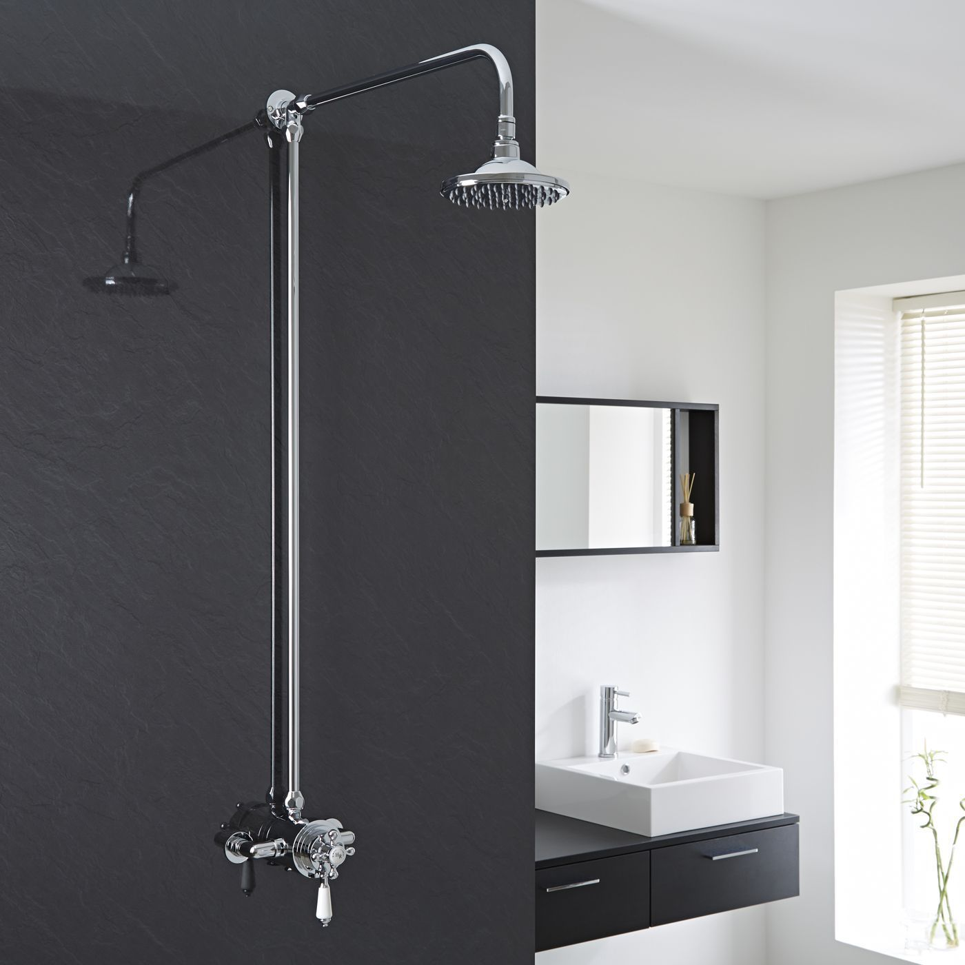 Dual Exposed Thermostatic Control Shower Faucet With Rigid Riser Kit