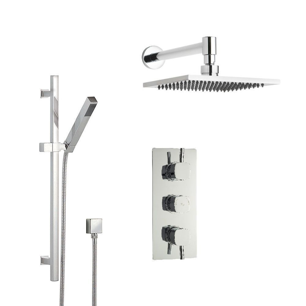 Chrome Square Shower System with Slide Rail Kit, Thermostatic ...