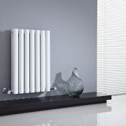 "Revive - White Horizontal Double-Panel Designer Radiator - 25"" x 16.25"""