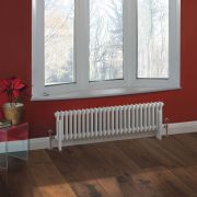 "Regent - White Horizontal 2-Column Traditional Cast-Iron Style Radiator - 11.75"" x 47"""