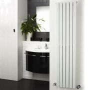 "Sloane - White Vertical Double Flat-Panel Designer Radiator - 63"" x 14"""