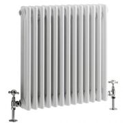 "Regent - White Horizontal 3-Column Traditional Cast-Iron Style Radiator - 23.5"" x 24"""