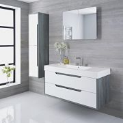 Newport - 47'' White & Gray Wall-Mount Bathroom Vanity