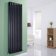 "Edifice - Black Vertical Double-Panel Designer Radiator - 70"" x 22"""