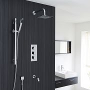 Thermostatic Shower System with Curved Arm, Handset Kit & Tub Filler