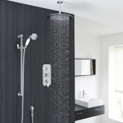 "Traditional Thermostatic Shower System with 12"" Round Head & Ceiling Arm & Handset"