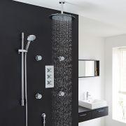 "Kristal Thermostatic Shower System with 12"" Ceiling Head, Handshower & 4 Jet Sprays"