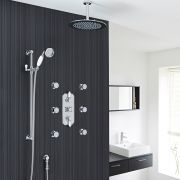 "Traditional Thermostatic Shower System with 12"" Round Head & Ceiling Arm , Handset & 6 Round Jet Sprays"