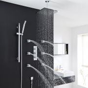 "Quest Thermostatic Shower System with 12"" Square Head & Ceiling Arm , Handset & 6 Square Body Sprays"