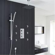 "Valquest Thermostatic Shower System with 12"" Ceiling Head, Handshower & 6 Mist Spray Jet Sprays"