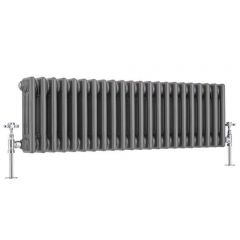 Regent - Raw Metal Lacquered Horizontal 3-Column Traditional Cast-Iron Style Radiator - 11.75'' x 39.75''
