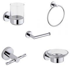 Prise Chrome 5-Piece Bathroom Accessory Set
