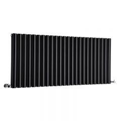 "Revive - Black Horizontal Double-Panel Designer Radiator - 25"" x 55.5"""