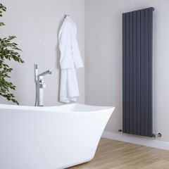 "Sloane - Anthracite Vertical Single Flat-Panel Designer Radiator - 63"" x 18.5"""