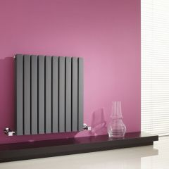 "Sloane - Anthracite Horizontal Double Flat-Panel Designer Radiator - 25"" x 23.5"""