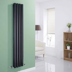 "Edifice - Black Vertical Double-Panel Designer Radiator - 63"" x 11"""