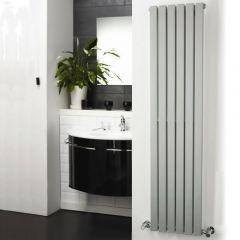 "Sloane - Silver Vertical Single Flat-Panel Designer Radiator - 63"" x 14"""