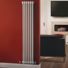 "Regent - White Vertical 2-Column Traditional Cast-Iron Style Radiator - 59"" x 11.5"""