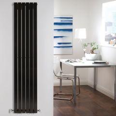 "Sloane - Black Vertical Double Flat-Panel Designer Radiator - 63"" x 14"""