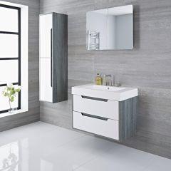 Newport - 30'' White & Gray Wall-Mount Bathroom Vanity