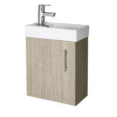 """Oak Small Wall Mount Vanity Vessel Sink 16"""""""