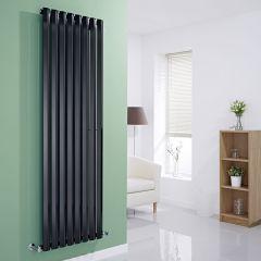 "Edifice - Black Vertical Single-Panel Designer Radiator - 70"" x 22"""