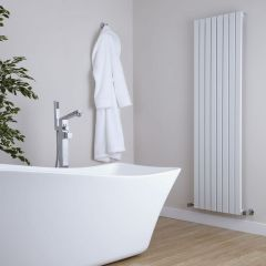 "Sloane - White Vertical Single Flat-Panel Designer Radiator - 70"" x 18.5"""