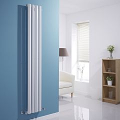 "Edifice - White Vertical Single-Panel Designer Radiator - 70"" x 11"""