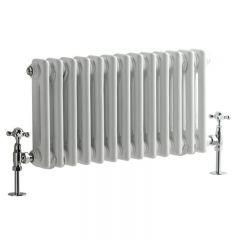 "Regent - White Horizontal 2-Column Traditional Cast-Iron Style Radiator - 11.75"" x 24"""