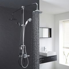 Traditional Exposed Dual Control Thermostatic Shower Faucet Valve with Grand Shower Kit