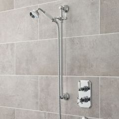 Twin concealed Thermostatic shower valve with Traditional slider rail kit