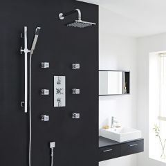 Thermostatic Shower System with Slide Rail Kit & 6 Square Jet Sprays