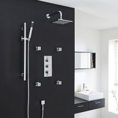 Thermostatic Large Shower System with Slide Rail Kit and 4 Body Sprays
