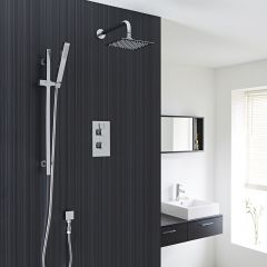 """Kia/jule Twin Concealed Thermostatic Shower With Diverter, 8"""" Shower Head and Slider Rail Kit"""