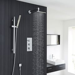 Chrome Square Shower System with Slide Rail Kit, Thermostatic Triple Faucet Valve and Overhead Head Shower